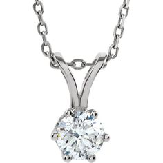 Diamond Necklace with 14KT White Gold Diamond Cut Chain RSD-1/4 Carat Full Cut Round Brilliant Diamond (1/3 and 1/2 Carat Available)