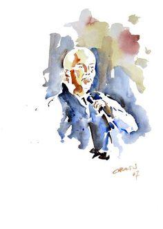 Peter Gabriel, watercolor