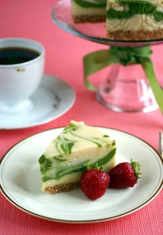 Gluten-free, candida diet marbled matcha cheesecake (#vegan, #sugarfree #recipe) @rickiheller