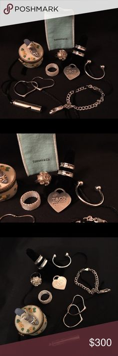 Lot of Tiffany & Co. etc. Belonged to Husband's Ex Here's the Deal:  Everything is 925 Sterling Please don't lowball me!  Found this in my husband's dresser. He bought all of it w/ his ex & I want it GONE. Ceramic ring box says Katherine on the bottom (IT WAS HERS). 99% sure all Tiffany is authentic.  〰 Tiffany 〰 Big Tiffany Ring - Sz 9 Little Tiffany Ring - Sz 7 Tiffany Heart Pendant Keychain Tiffany Key Ring  Mesh Ring - Sz 8 Flower Ring - Sz 8 Sterling Whistle Necklace Sterling Heart…