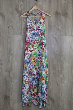 Tropical Flower Silk Maxi Dress