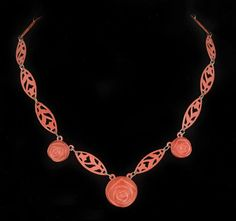 early Deco carved coral celluloid Necklace fall roses with ornate floral clasp #Unbranded