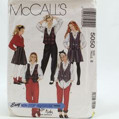 Vtg McCalls 5050 Girls Reversible Vest Blouse Skirt Pants Size 8 Sewing Pattern #McCalls