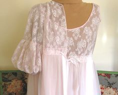 Vintage Chiffon Peignoir Set Lingerie NIghtgown by WhatGirlsLike, $45.00