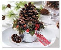 Pine Cone in mini galvanized bucket place setting