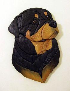Rottweiler - Original Painted Intarsia Art
