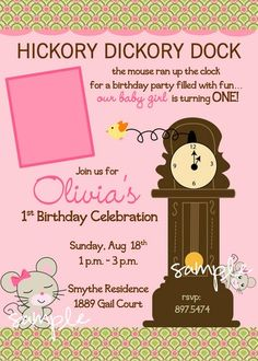 Hickory Dickory Dock Nursery Rhyme Invitation For A Sweet Girl 1st Birthday Themes First