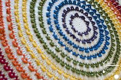 Make this gorgeous afghan with Lion Brand Vanna's Choice! The Loop the Loop Round Afghan pattern by Kate Wagstaff would also make a great table mat or small rug! Get the pattern now on Ravelry. Afghan Crochet Patterns, Knit Patterns, Crochet Stitches, Crochet Afghans, Crochet Blankets, Blanket Patterns, Baby Blankets, Rainbow Afghan, Free Crochet