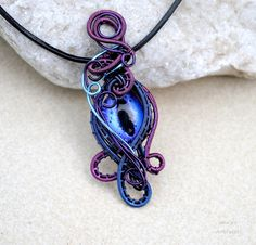 Blue purple Dragon's eye wire wrapped pendant - OOAK