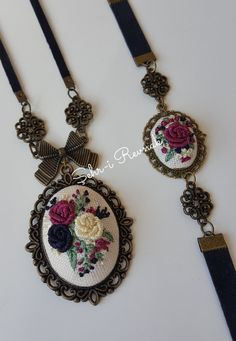 Learn Embroidery, Embroidery Jewelry, Ribbon Embroidery, Embroidery Art, Embroidery Patterns, Grand Art, Girls Necklaces, Bridal Gifts, Silk Ribbon