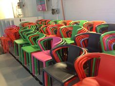 Lecture area can also be used as studio space because of these stacking chairs. Aalto.