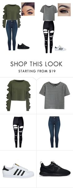 """""""Mall"""" by kayla-owen ❤ liked on Polyvore featuring WithChic, J Brand, adidas and NIKE"""