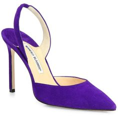 Manolo Blahnik Carolyne Suede Slingback Point Toe Pumps ($625) ❤ liked on Polyvore featuring shoes, pumps, purple, purple pumps, manolo blahnik shoes, slingback shoes, purple suede pumps and pointy toe slingbacks