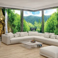 Choosing the right sofa means taking into consideration various factors including lifestyle, real requirements, your household, and also the budget. Home Building Design, Home Room Design, House Design, 3d Wall Murals, Bedroom Murals, Wallpaper For Home Wall, White Room Decor, Relaxation Room, House Rooms