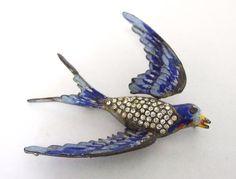 Early Enamel, metal & rhinestone Tremblent moveable bird brooch, Swallow / moving wings