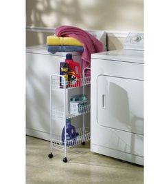 Household Essentials Slim Line 3-Tier Metal Storage Cart, White Household Essentials http://www.amazon.com/dp/B0000YUSZ8/ref=cm_sw_r_pi_dp_O61gvb0WDD0FK