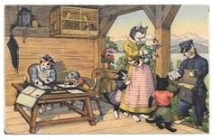 Cartão Postal Alfred Mainzer Correio Postal Gatos Max kunzli Zurique Postado 1955 # 4744 in Colecionáveis, Cartões postais, Animais | eBay