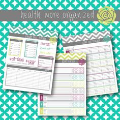 Home Management Binder Printables: Health. More Organized.  Food Log, Exercise Log and Weight Loss Tracker and by lifemoreorganized