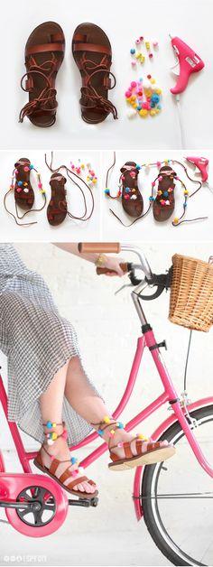 » MY DIY | Lace-up Pom Pom Sandals