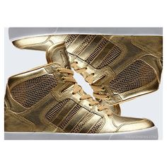 adidas NEO Gold Sneakers ❤ liked on Polyvore