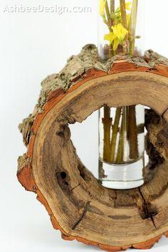 Ashbee Design: DIY Log Slice Vase with Spring Flowers