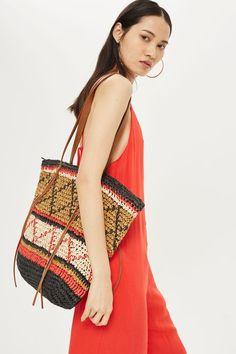 Rafia Zigzag Shopper Bag