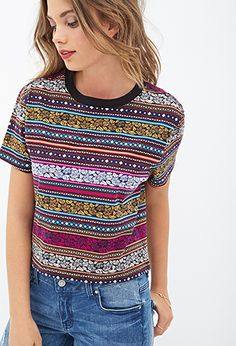 Boxy Tribal Print Tee | FOREVER 21 - 2000137958