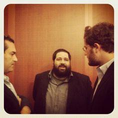 Il sindaco di Napoli De Magistris con Alex Giordano e Ben Casnocha alla Stazione Marittima di Napoli per la chiusura di Vulcanica-mente