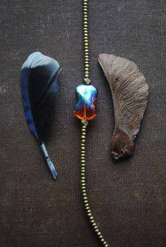 Modern Brass Minimalist Iridescent Czech Glass Bracelet by ArcaneMemory