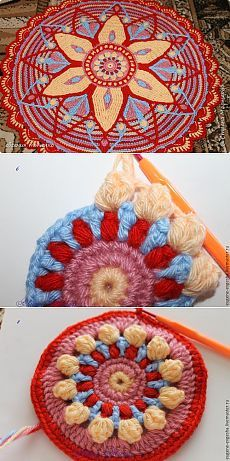 New Crochet Granny Square Pattern Mandalas Photo Tutorial Ideas Motif Mandala Crochet, Crochet Motifs, Granny Square Crochet Pattern, Crochet Stitches Patterns, Crochet Round, Crochet Squares, Crochet Crafts, Crochet Yarn, Crochet Projects