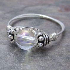 Mystic Quartz Bali Sterling Silver Wire Wrapped Ring by KimsJewels, $16.00