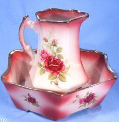 Staffordshire Ironstone Pink Roses Vintage Wash Jug and Basin.