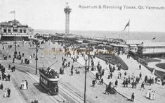 The Aquarium, Britannia Pier, and the revolving tower Great Yarmouth - From a postcard Great Yarmouth, Uk Photos, Old Pictures, Norfolk, 1920s, Paris Skyline, Aquarium, Cinema, Tower
