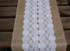 Custom made wedding table runner , lace and burlap. $23.00, via Etsy.