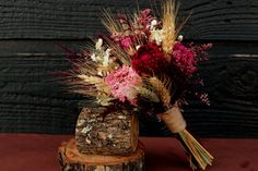 Rustic Burgundy and Pink Wedding Bouquet, Bridesmaid Bouquet, Rustic Chic Bouquet, Dried Flowers, Peony Bouquet with Wheat & Wild Flowers $45