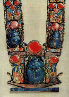 Pendant in the form of a boat showing a scarab, the symbol of God's resurrection, flanked by two royal serpents, from the tomb of Tutankhamun.  forages:    national geographic  october  1963