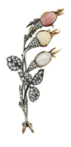 PAULDING FARNHAM FOR TIFFANY & CO. - AN ANTIQUE NATURAL PEARL, CONCH PEARL AND DIAMOND BROOCH, CIRCA 1890. Designed as a floral spray, with two natural pearls and one natural conch pearl bud, extending rose-cut diamond leaves, 2 3/4 ins., mounted in silver-topped gold, signed Tiffany & Co.