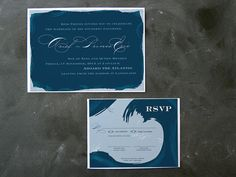 """Ariel and Eric Deep Ocean Blue Wedding  Invitations by thefuturemrsdarcy, $5.00. Part of the Ariel + Prince Eric (from """"The Little Mermaid"""") seaside elegance wedding inspiration board."""