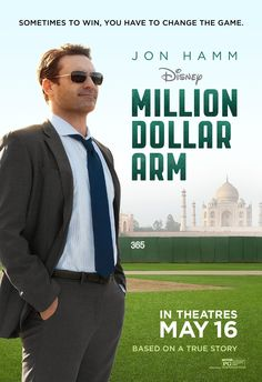 Million Dollar Arm on DVD September 2014 starring Jon Hamm, Suraj Sharma, Alan Arkin, Aasif Mandvi. In a last ditch effort to save his career as a sports agent, JB Bernstein (Jon Hamm) concocts a scheme to find baseball's next great pitch Streaming Hd, Streaming Movies, Hd Movies, Disney Movies, Movies And Tv Shows, Movie Tv, Movies 2014, Watch Movies, Pixar Movies