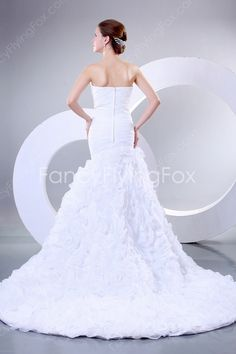 Romantic White Strapless Sweetheart 3D Floral Skirt Mermaid Bridal Gowns at fancyflyingfox.com