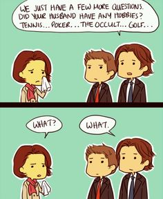 Sam and Dean: pros in the art of subtlety. #Supernatural #SamWinchester #DeanWinchester