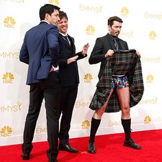Red Carpet Moments You Missed on TV | BOXERS OR BRIEFS? | We see London, we see France! Jonathan Scott of Property Brothers shows off what's under his kilt as siblings Drew and J.D. look on with embarrassment.