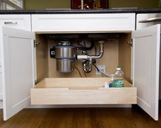 Great idea for kitchen remodel - under sink storage. Home Design Ideas, Pictures, Remodel, and Decor - page 8 Under Sink Drawer, Under Kitchen Sinks, Kitchen Redo, Kitchen Pantry, New Kitchen, Kitchen Ideas, Kitchen Photos, Kitchen Tools, Kitchen Cart