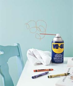 WD40 can be used to remove crayon marks from any surface! http://3.bp.blogspot.com/-Sx_jFRzoUfc/UTJiaLB5JdI/AAAAAAAAEw0/1m8DtbiWiGM/s1600/33.jpg