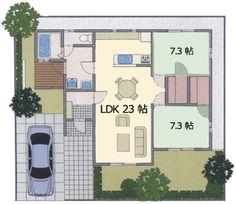 開放感いっぱいのリビング パーティーしたくなる間取り約25坪 23帖 リビング+7.3帖 和室2つ開放感あふれるリビングは大勢のパーティーにも大活躍。広々としたふたつの和室はオールマイティーに活用できます。敷地面積  84.00m2 (25.41坪)延床面積 → 詳細はこちら 平屋間取り 開放感◎のウッドデッキが魅力!約23坪 LD
