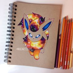 a progress photo of Flareon. It was my first time doing a red/orange galaxy. After this commission I'm definitely going to experiment with different Galaxy techniques and improve my style a bit. But I hope you guys like it so far! Pokemon Go, Pokemon Fan Art, Pokemon Fusion, Pokemon Zelda, Pokemon Eeveelutions, Eevee Evolutions, Digimon, Pokémon Kawaii, Posters Geek