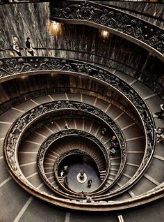 Movement - is the path the viewer's eye takes through the artwork, often to a focal area. It can be directed along lines, edges, shapes and colour. Movement is closely tied to rhythm.    Spiral staircase at The Vatican museum.