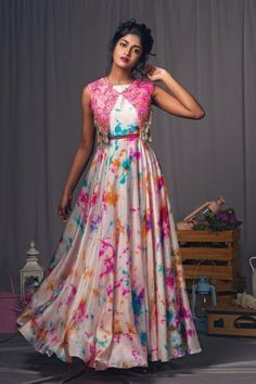 Multicolor Digital Printed Satin Coldshoulder Gown With Jacket Girls Frock Design, Long Dress Design, Dress Neck Designs, Stylish Dress Designs, Stylish Dresses, Shrug For Dresses, Indian Gowns Dresses, Indian Fashion Dresses, Indian Designer Outfits