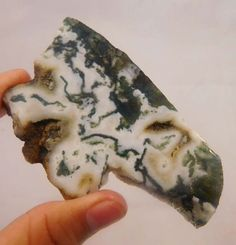 245 Cts. 100% NATURAL MOSS AGATE SLICE ROUGH LOOSE CABOCHON GEMSTONE (NC782)…