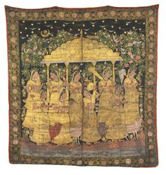 Picchavai Depicting Gopis Beneath a Pavilion